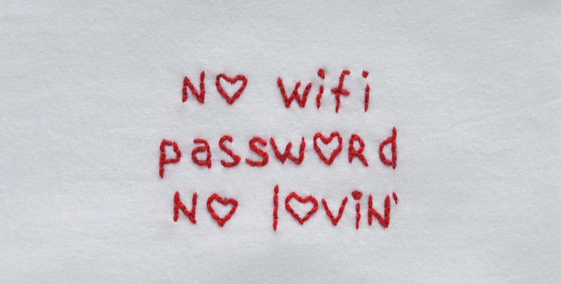 No WiFi Hand Embroidered T-Shirt