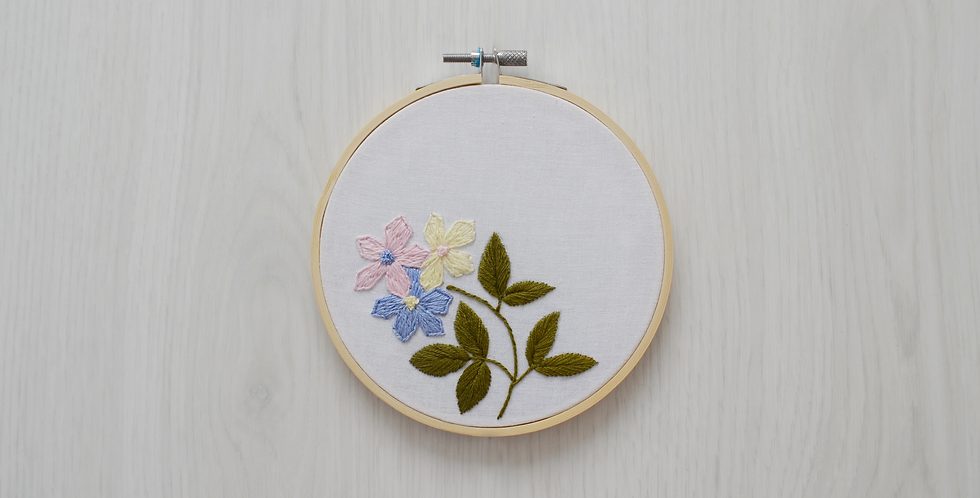 Floral Delight Hand Embroidery Hoop Art