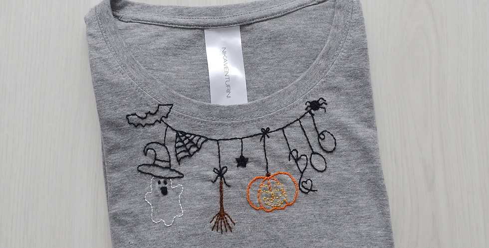 Halloween Hand Embroidered T-Shirt
