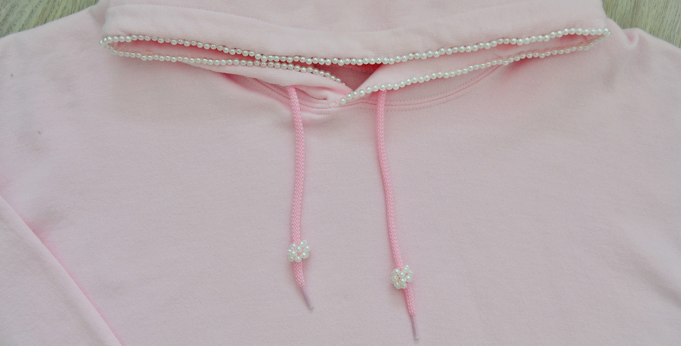 Pearl Pink Hand Embroidered Hoodie
