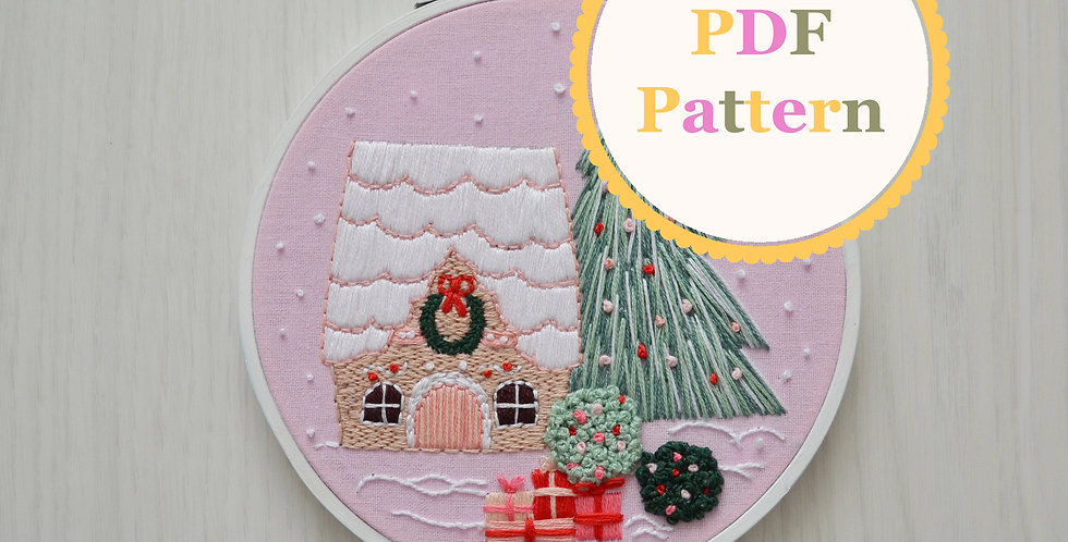 Gingerbread House PDF Hand Embroidery Pattern