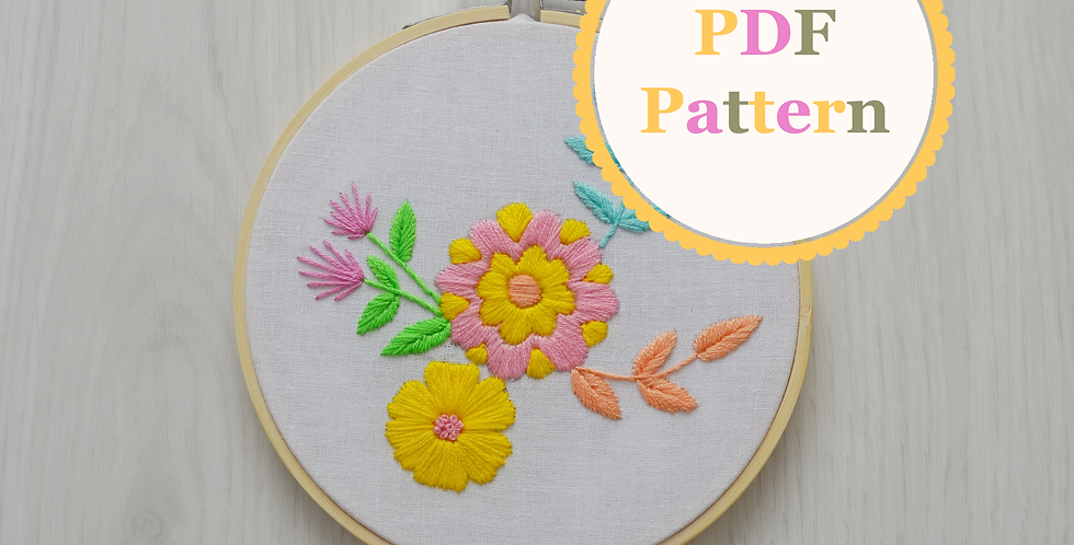 Neon Bouquet PDF Hand Embroidery Pattern