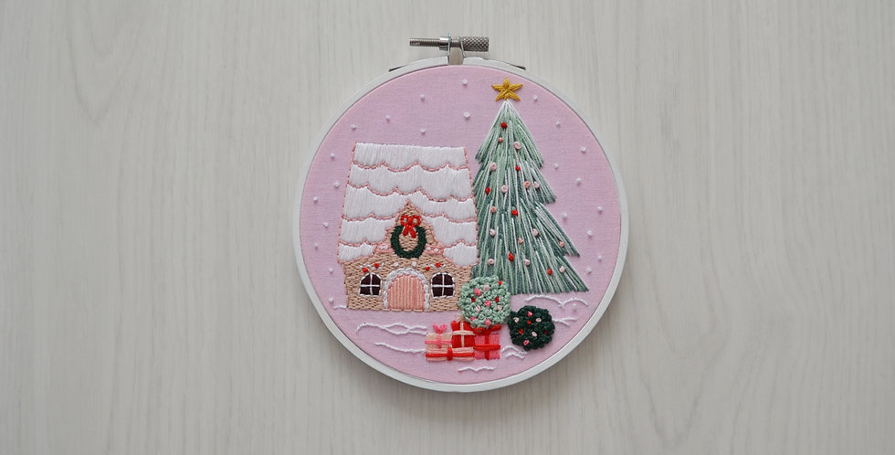 Gingerbread House Hand Embroidery Hoop Art