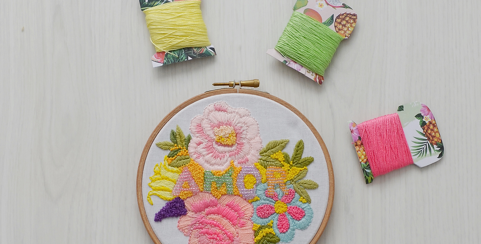 Amor Hand Embroidery Hoop Art