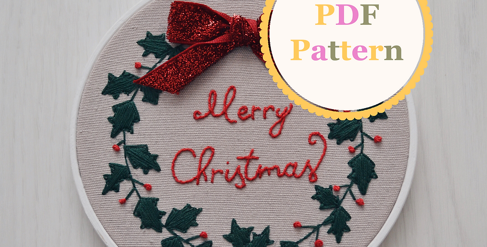 Christmas Wreath PDF Hand Embroidery Pattern