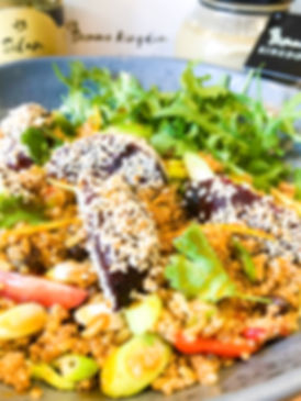 Middle eastern cous cous salad with tahi