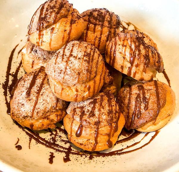Classic choux buns with tiramisu halva c