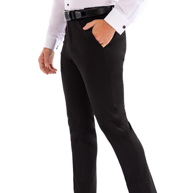 705 BLACK STRETCH PANTS - WHITE 707
