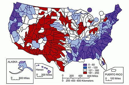 Concentration of Water Hardness in the USA as calcium carbonate, in mg/liter