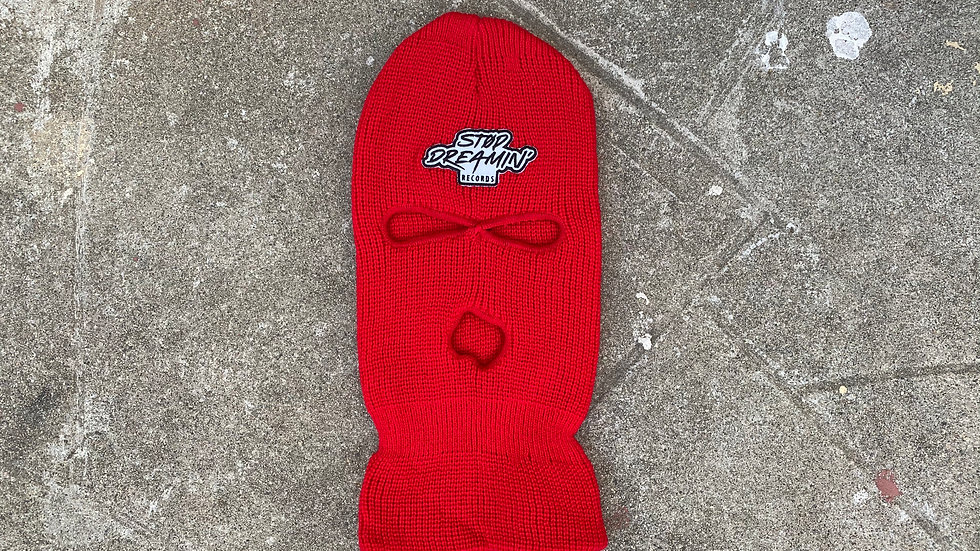Stop Dreamin Record Logo (Red) Ski Mask