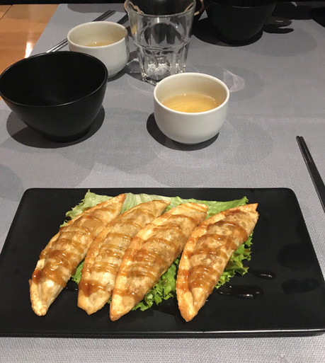 Ganjang Mandu (ravioli fritti di verdura con salsa di soia)