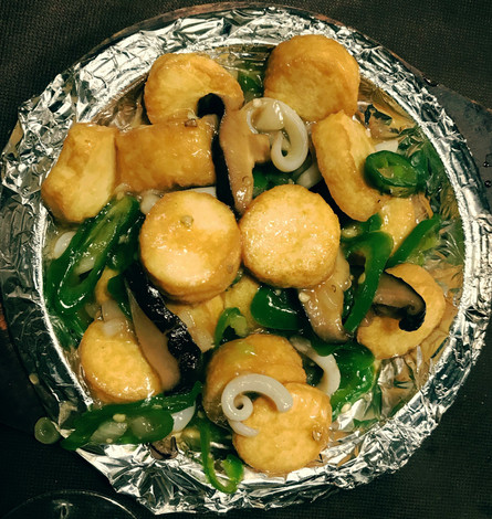 Tofu e calamari alla piastra + peperoncino