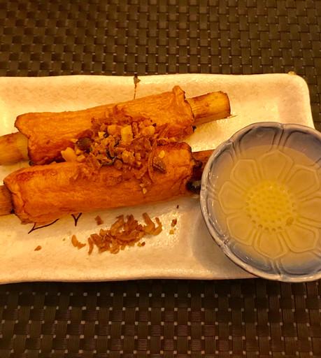 Chạo tôm (Canna da zucchero con polpetta di gamberi)