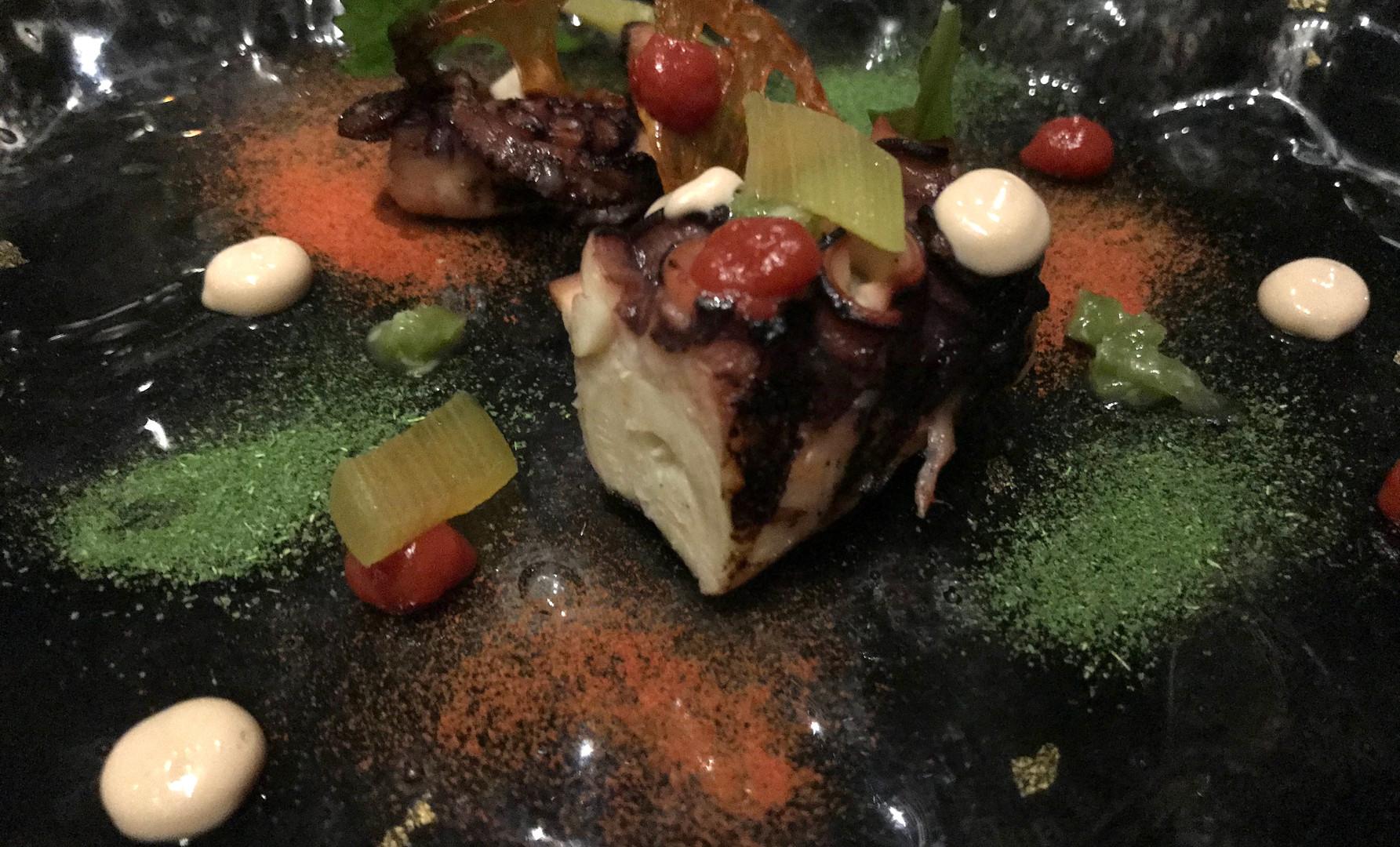 Tako - Polpo nazionale rifinito nell acarbonella pomodoro candito, kizami wasabie rabarbaro in osmosi