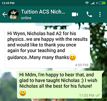 Good Physics tuition and physics tutor results!