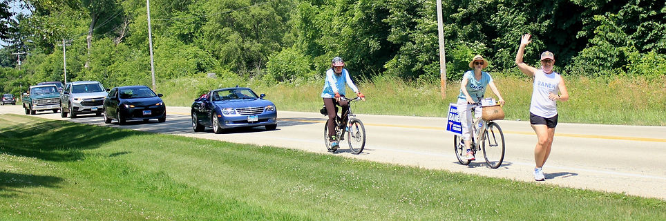 Jennifer leads the parade in Benton Township (Photo by Lucinda Troester)