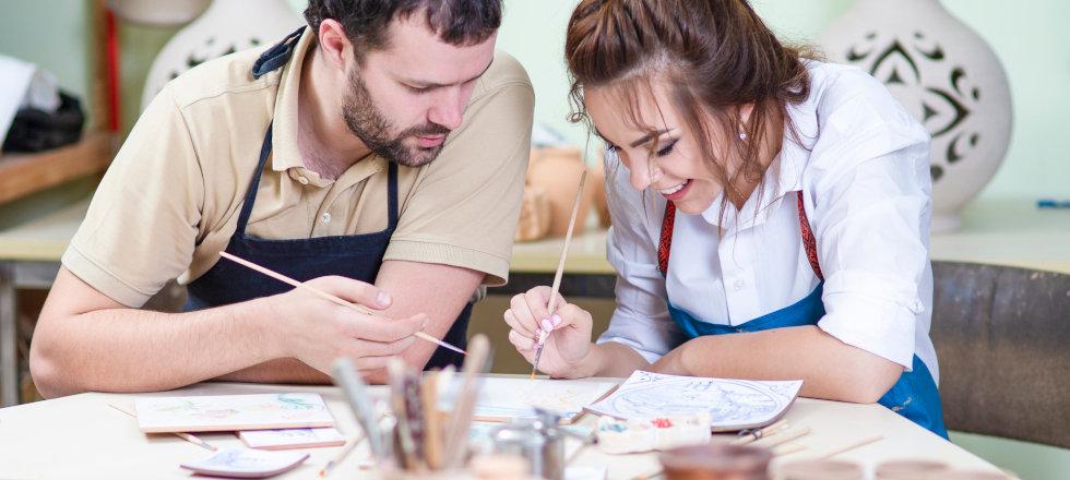 Team building while painting ceramics
