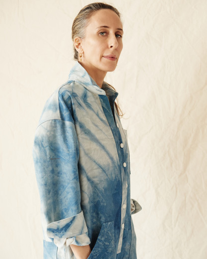 Mara Hoffman wearing Agatha jumpsuit in indigo Adire
