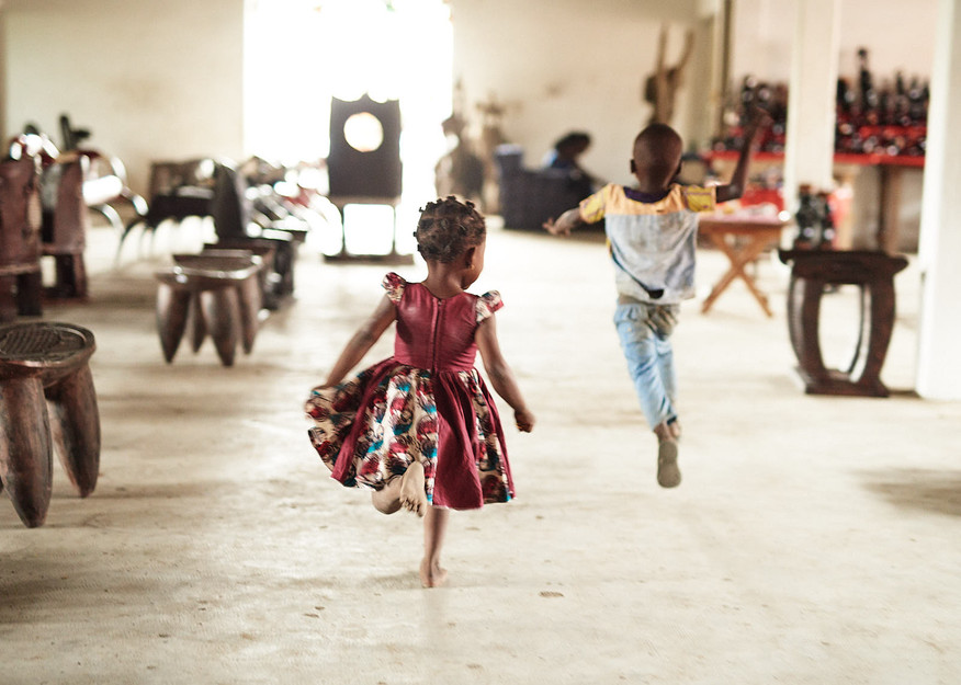 Children playing at Artist Cooperative in Grand-Bassam
