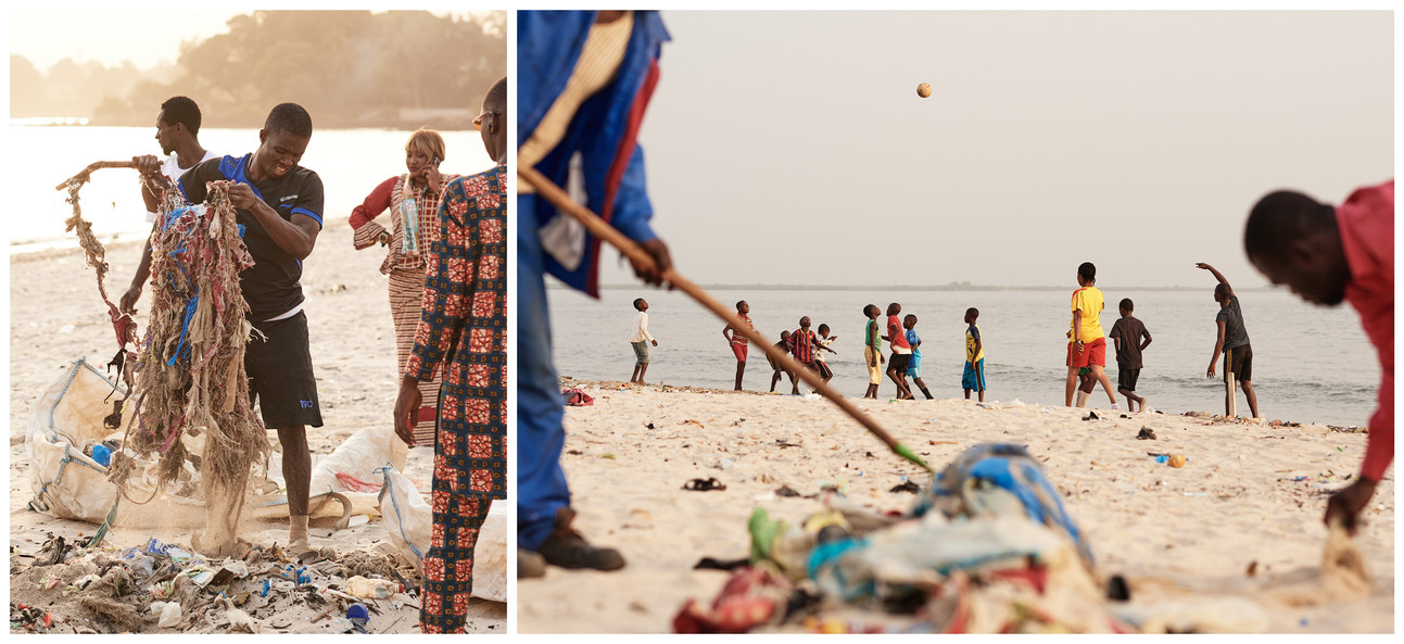 Beach cleanup with soccer diptych, Conakry 2020