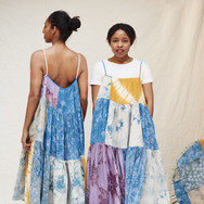 Sarah Nsikak (La Réunion), indigo, logwood and onion skin dyed patchworked dresses