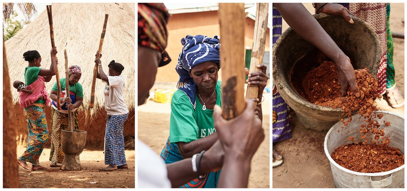 Women dyers grinding kola nuts triptych