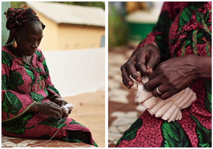 Fatoumata Bangoura adire oniko (folding resist)