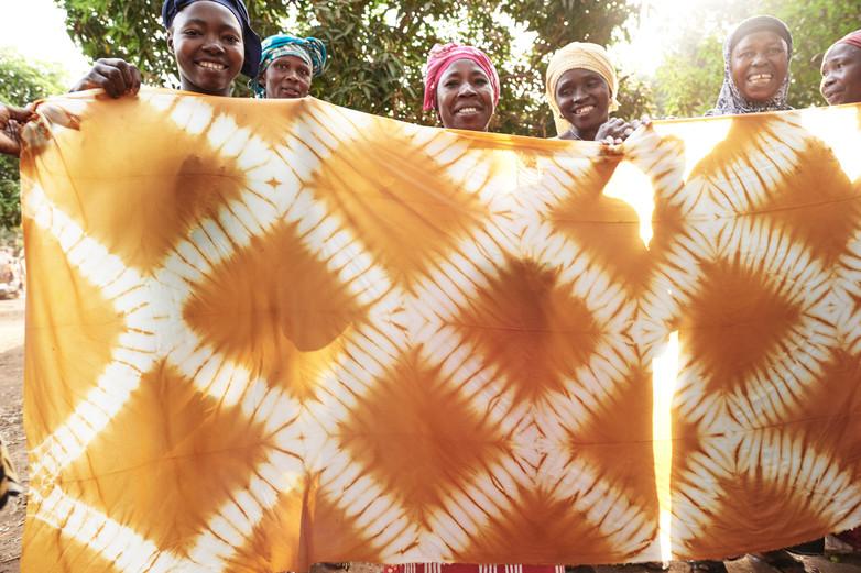 Onion skin adire silk created in a natural dye workshop, Modiya