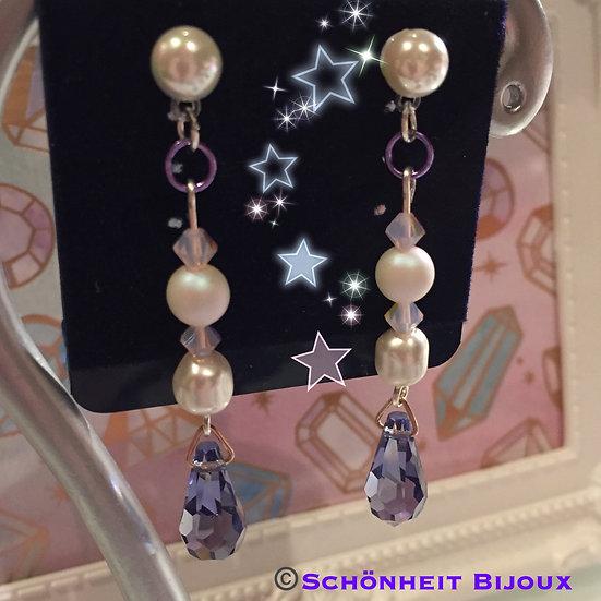 レアなスワロフスキーパールとパープルペンダントトップピアス/Rare Swarovski Pearl and Purple Drop Earrings