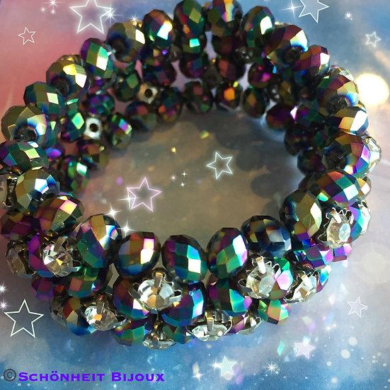 ラインストーン付き虹ストレッチブレスレット/Rhinestone Rainbow Stretch Bracelet