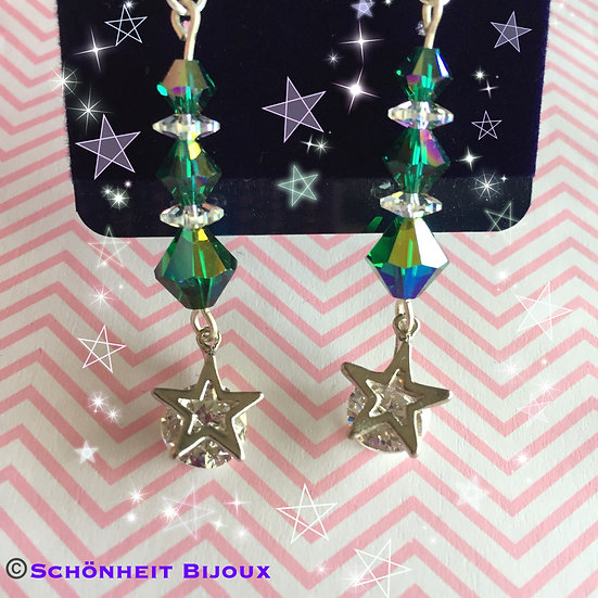 スワロフスキーとキュービック星チャームピアス/Swarovski and Cubic Star Charm Earrings