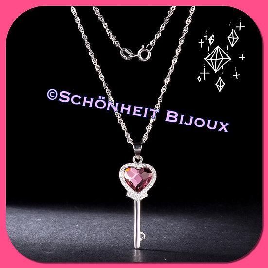ピンクハート鍵ネックレス/Pink Heart Key Necklace