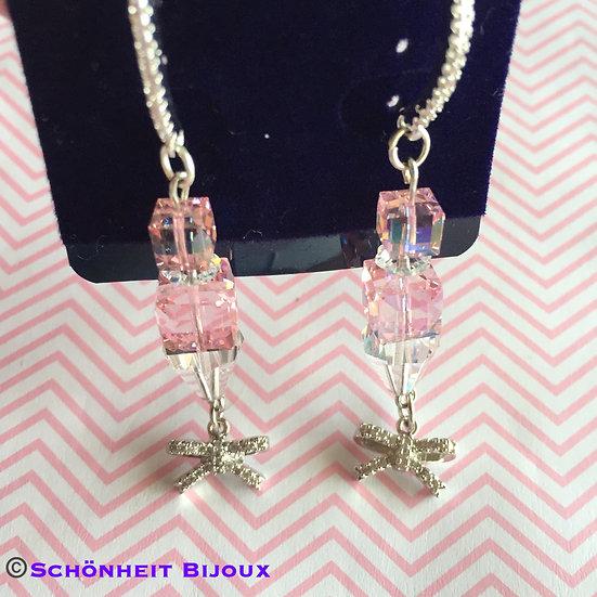 スワロフスキーキューブとキュービックリボンピアス/Swarovski Cube and Cubic Ribbon Earrings (Silver)