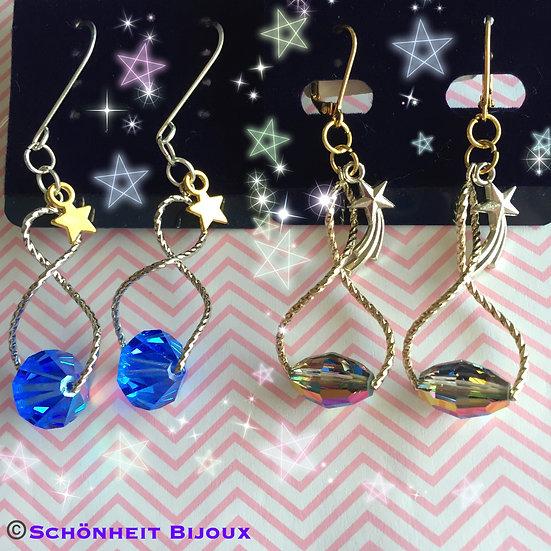 スワロフスキークリスタルと星チャームのツイストピアス/Swarovski Crystal Star Charm Twist Earrings
