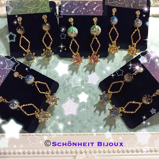 スワロフスキークリスタルシマークラウンピアス/Swarovski Crystal Shimmer Crown Earrings (Gold)
