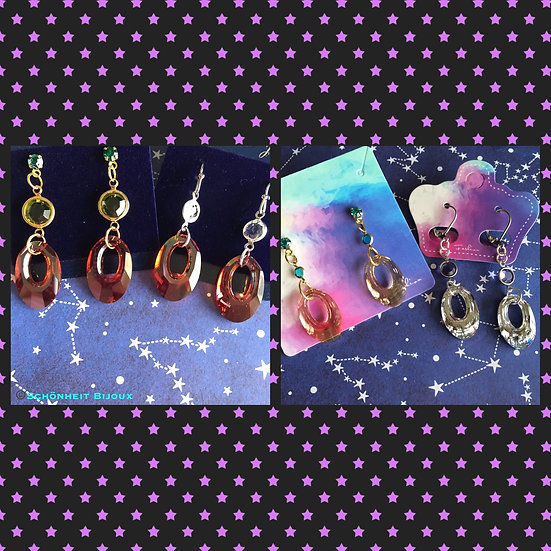 スワロフスキークリスタルペンダントピアス/Swarovski Crystal Helios Pendant Earrings