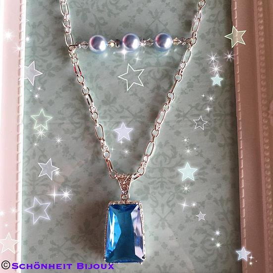 ブルートパーズとスワロフスキークリスタルパールネックレス/Pacific Blue Topaz Crystal Pearl Necklace (Silver)