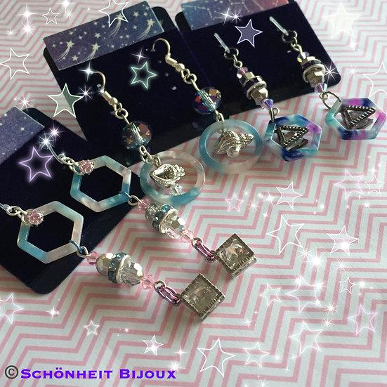 キュービックジルコニアチャームとアクリルピアス/Cubic Zirconia Charms with Acrylic, Earrings
