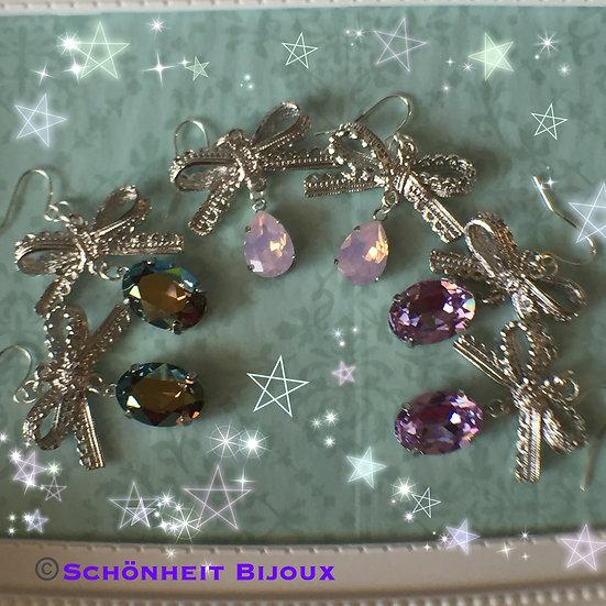 大粒クリスタルリボンピアス/Big Swarovski Crystal Ribbon Earrings (Silver)