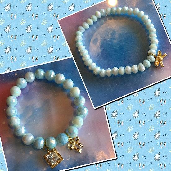 キュービックジルコニアチャームブレスレット/Gorgeous Cubic Zirconia Charm Bracelets (Gold)