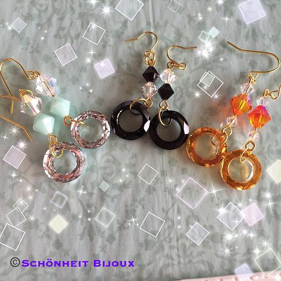 スワロフスキーコズミックリングピアス/Swarovski Crystal Cosmic Ring Earrings (Gold)