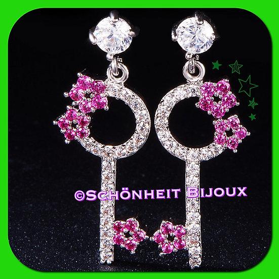 ピンク花と鍵 ピアス/Pink Flower Key Earrings