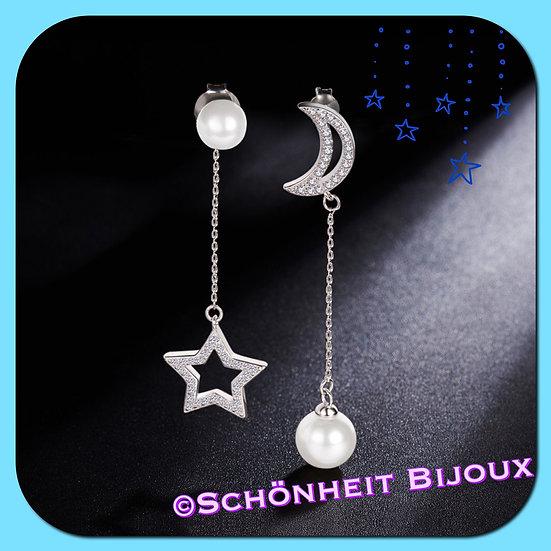 半月と星ピアス/Star & Moon Drop Earrings