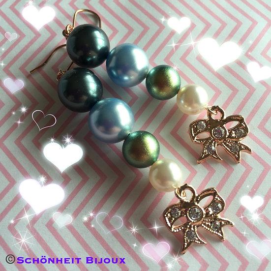 スワロフスキーパールとキュービックチャームピアス/Swarovski Pearl Cubic Charm Earrings (Pink Gold)