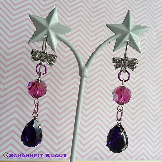 スワロフスキーとキュービックリボンピアス/Swarovski and Cubic Ribbon Earrings (Silver)