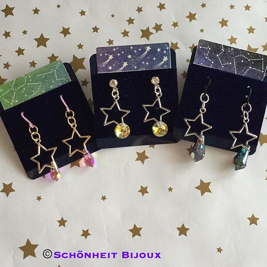 星とスワロフスキークリスタル雫ピアス/Star and Swarovski Crystal Drop Earrings