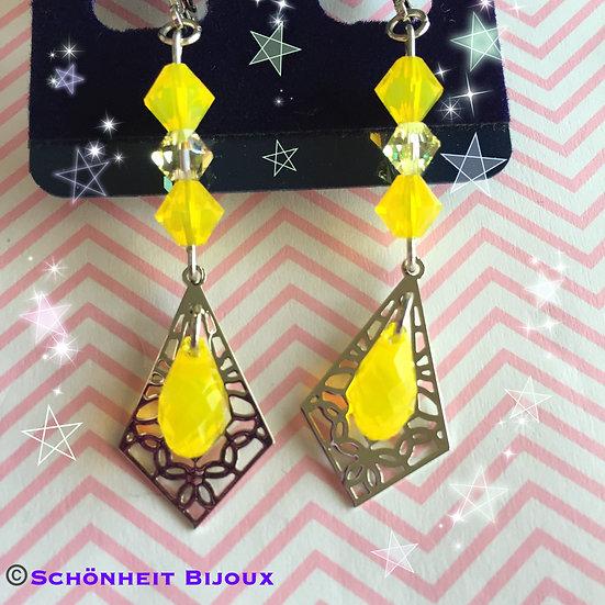 イエローオパールスワロフスキースカシピアス/Yellow Opal Swarovski Earrings (Silver)