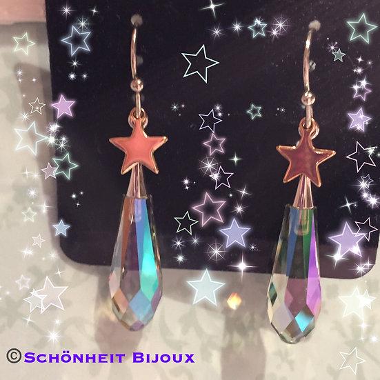 大粒スワロフスキークリスタルと星チャームピアス/Swarovski Crystal Earrings Star Charm (Silver)