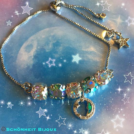 半月オパールチャームとスワロフスキークリスタルブレスレット/Swarovski Crystal Bracelet Opal Half Moon (Silver)