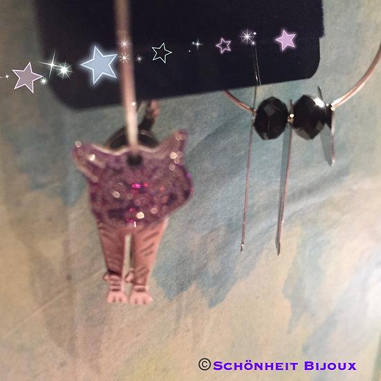 ブラブラの猫クリスタルピアス/Darling Dangling Cat Earrings (Silver)